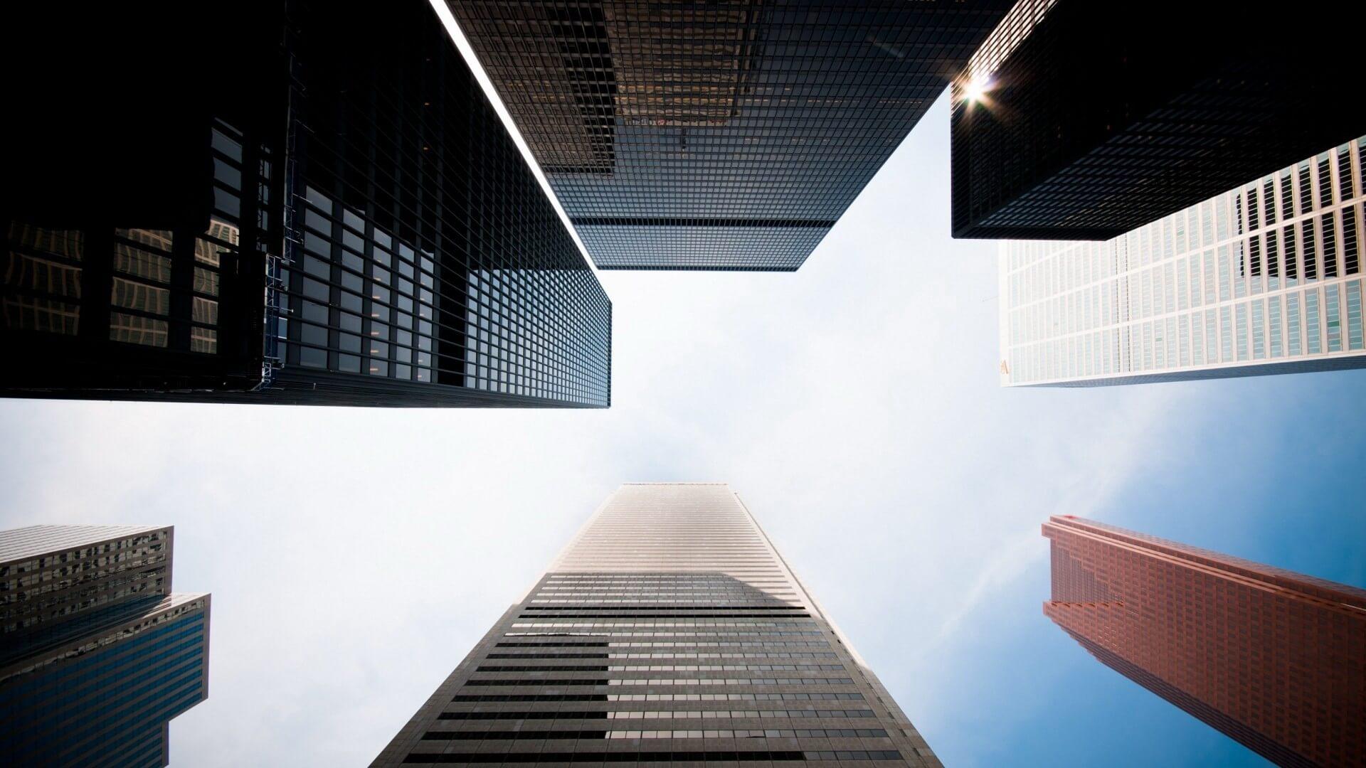 城市,仰视,高楼